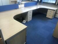 1800mm Curved Desk with Under Pedstals Package