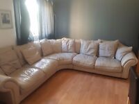 5 seater leather sofa stone in colour