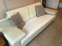 Leather sofa ( has some cracking but fine with throw and cushions