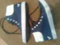 For sale! size 6 ladies voi blue lace up canvas high tops boots