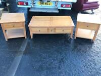 Solid oak wood occasional table & 2 bed side lockers £95