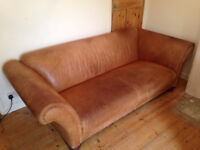 Large leather sofa / couch / settee - perfect for restoration or reupholstering