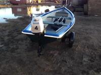 12ft Fishing Boat with Trailer and Mariner Engine