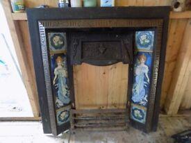 Cast Iron Fire Surround with tiled inset of female figure in 'art deco' style