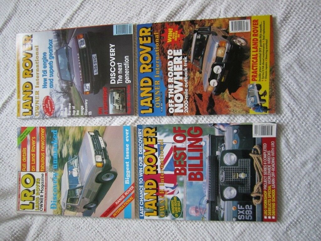 Four collectible LAND ROVER OWNER INTERNATIONAL magazines in pristine condition.