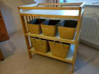 Changing table with storage baskets