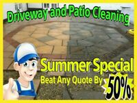 """£12""MEDIUM DRIVES/PATIOS ""£45"" LARGE DRIVES/PATIOS+Jetting (Patio & Driveway Cleaning Maintenance)"