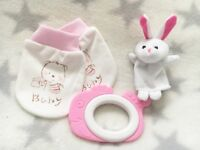 Baby Girl Pink - Nicely packed, can deliver - Soft cotton mittens, bunny finger puppet, fish teether