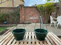 Pair Of 2x Small Green Plastic Garden Wall Hanging Flower Plant Baskets Pots