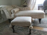Victorian button back cream Chaise Lounge and matching footstool
