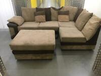 Beige&brown L shape sofa + footstool •free delivery