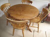 "Handmade Solid pine circular dining table 39"" diameter"