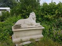 Very large lion on a plinth , cash or swap / antiques swansea related