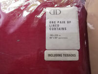 """Pair of fully lined Faux Silk/Polyester Curtains (and tiebacks) - 66"""" x 90"""" - New!"""