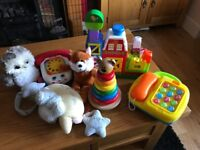 Large Colourful Wooden Sounds Light Baby Toys Bundle: Farm, Stacking, Phone, Mobile, Pull Along: VGC