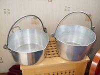 two aluminium jelly pans/jam making pans