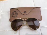 Raban Aviator Sunglasses, Brown lens, original leather case, good condition.
