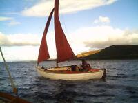 22' traditionally built, wooden, 4 berth sailing boat with gunter rig