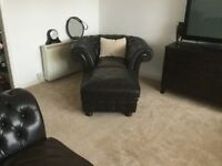 Chesterfield black/brown three seater,two seater sofas plus one tub chair plus foot stool mahogany f