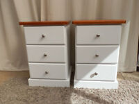 Dark Pine Painted Bedside Cabinets