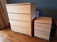 Ikea Malm 4-drawer chest and 2-drawer bedside unit set