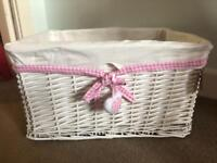 Large White & Pink Wicker Basket