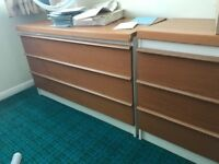 Oak colour chest of drawers with mirror attatched