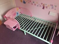 Disney princess wooden toddler bed with side table/chair