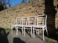 4 White chairs (from gourmet restaurant 'The Grainstore'. For kitchen or dining area.