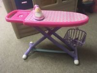 Toy shopping trolley, basket and ironing board and iron.