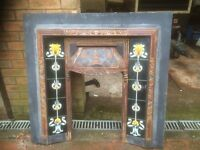 cast iron and tile fire surround