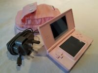 Nintendo DS Lite Pink - complete with charger, case, stylus & 3 games
