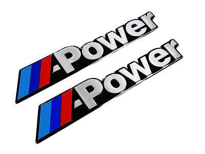 QTY 2 PAIR BMW M POWER ENGINE THIN ALUMINUM BADGE TRUNK FENDER EMBLEMS PAIR