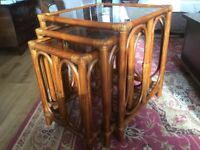 Cane Nest of 3 Glass Topped Tables