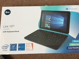 Brand new Linx 1020 10 inch tablet with keyboard dock