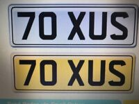 70 XUS CHERISHED NUMBER PLATE
