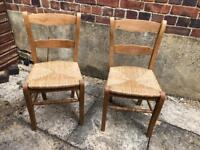 Pair of oak dining chairs, lovely quality
