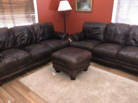 2x 3seater sofas and footstool