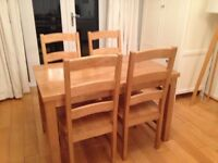 Dining table set with four chairs