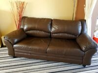 Leather 2 ( Two ) piece suite. Sofa. 2 Seater & matching 3 Seater - Brown