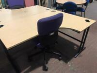 1800mm Right Curved Office Desk - Oak Venner