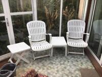 Retro garden chair set and tables