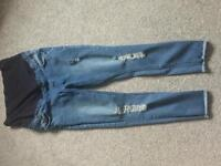New look size 10 skinny ripped maternity jeans