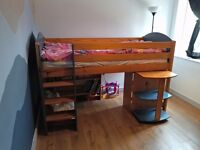 Single bed Solid wood Verona Blue Midsleeper with 2 sets of chest of drawers