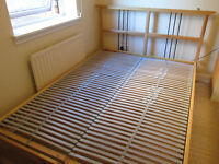 Double wooden IKEA BED and IKEA Sultan Elsfjord latex MATTRESS