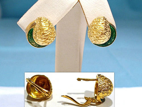 SOLID 18K YELLOW GOLD & GREEN ENAMEL EARRINGS
