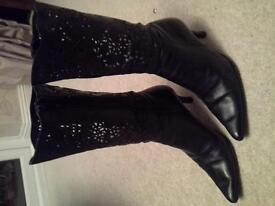 Ladies size 5 black leather lace effect boots