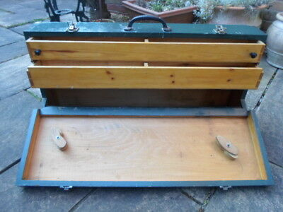 Vintage green wooden joiners tool box, 2 drawers, cast iron handle Henderson