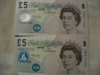 2 Merlyn Lowther/Elizabeth Fry £5 banknotes in sequential order (uncirculated condition)