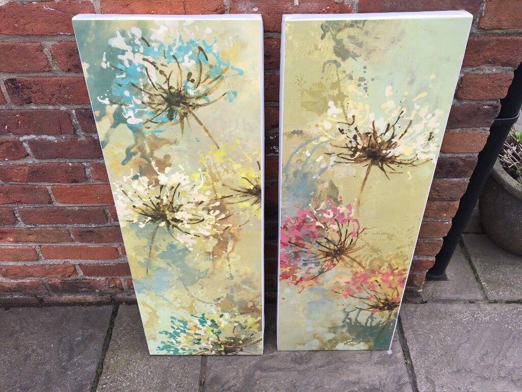 2 x Green Floral Wall Canvas/ Wall Art | in Dereham, Norfolk | Gumtree